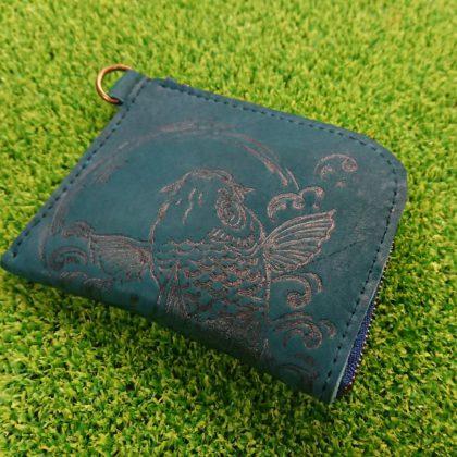 107 グローブ革 手作りのお財布 鯉(手描き)